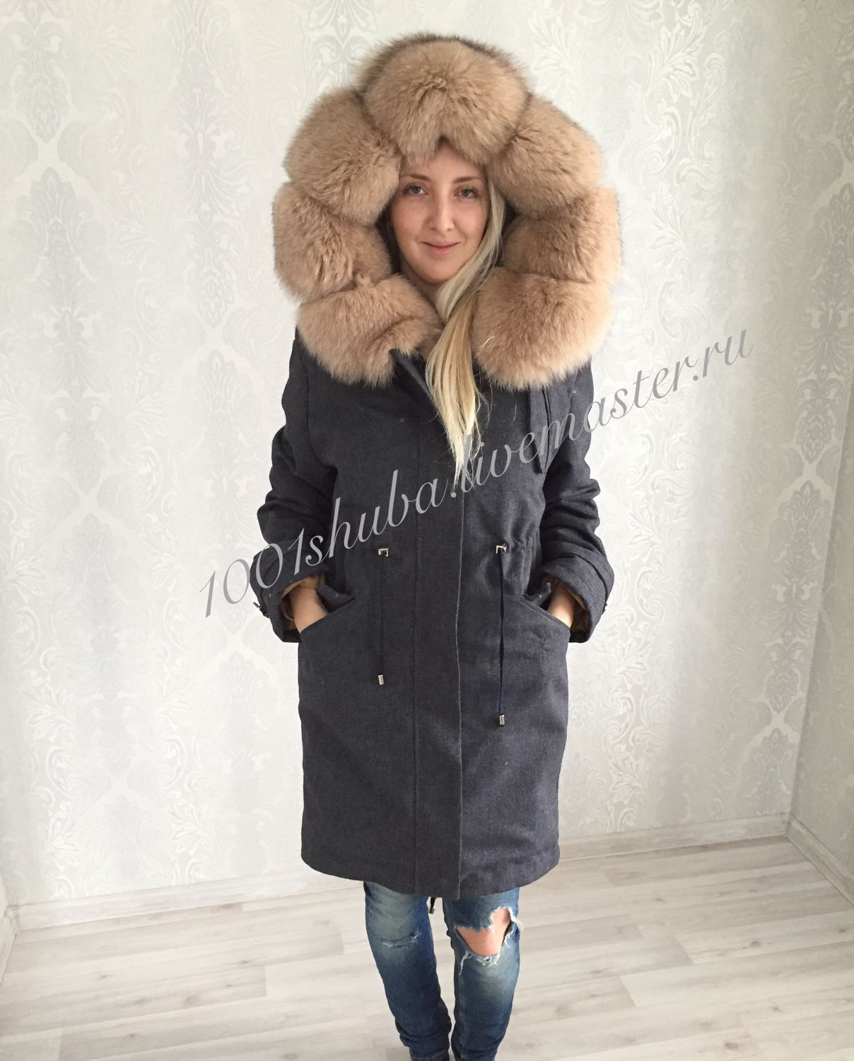 Parka with Finnish Fox fur, fur on the hood and along the edge of the shelves, inside the hood of plucked beaver, outside the jacket of jeans with impregnation . https://www.livemaster.ru/item/edit/17