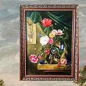 Украшения для дома ручной работы. Ярмарка Мастеров - ручная работа Картина маслом зеленая бежевая коричневая красная. Handmade.