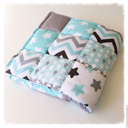 Для новорожденных, ручной работы. Ярмарка Мастеров - ручная работа. Купить Лоскутное одеяло. Handmade. Голубой, одеяло для мальчика, холлофайбер
