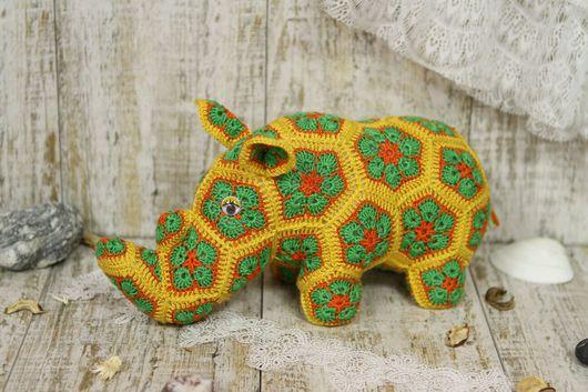 Игрушки животные, ручной работы. Ярмарка Мастеров - ручная работа. Купить Носорог Руфус из африканских цветков. Handmade. Африканский стиль
