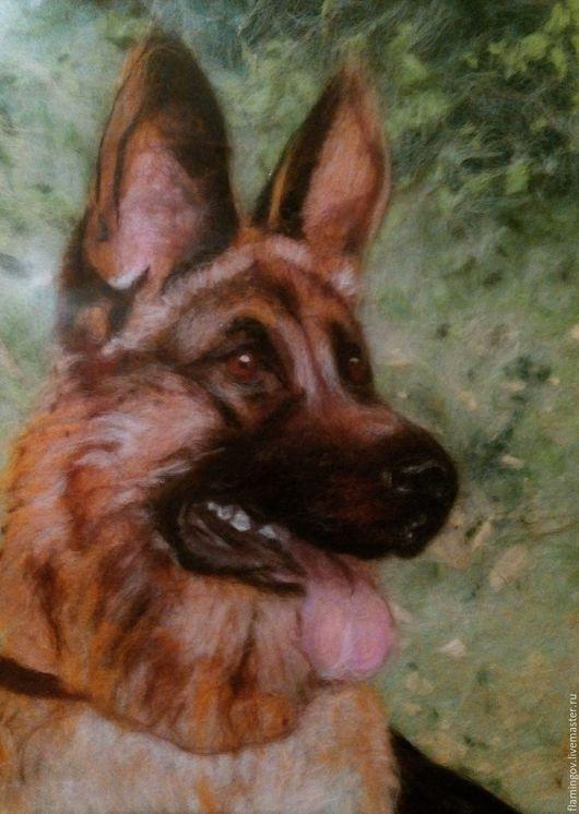 """Животные ручной работы. Ярмарка Мастеров - ручная работа. Купить """"Глаза собаки"""" Картина из шерсти. Handmade. Картина из шерсти, собака"""