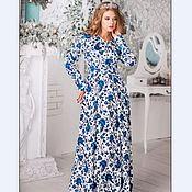 Платье макси белый цветочный сине-голубой хлопок Германия