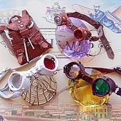 Одежда для кукол ручной работы. Ярмарка Мастеров - ручная работа Кожаные стимпанк гогглы и шлемы для разных кукол бжд и тедди. Handmade.