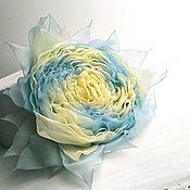 Украшения handmade. Livemaster - original item Brooch hair clip with fabric flower. Yellow and blue rose. Handmade.