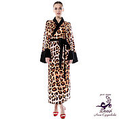 """Одежда ручной работы. Ярмарка Мастеров - ручная работа Пеньюар, халат """"Леопардово-бархатное кимоно"""" регулируется на 3 размера. Handmade."""