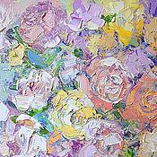 """Картины и панно ручной работы. Ярмарка Мастеров - ручная работа """"Перламутровые Розы"""" - картина маслом с цветами. Handmade."""