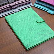 Cover handmade. Livemaster - original item Organizer for documents format B5 green Python. Handmade.