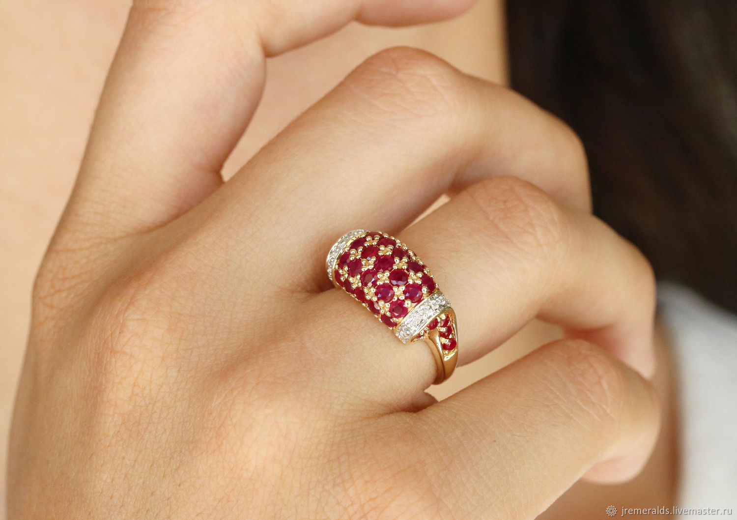 14K Ruby Ring, Yellow Gold Ruby Ring, Cluster Ruby Diamond Ring,, Rings, West Palm Beach,  Фото №1