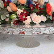 Винтажное тортовое блюдо на ножке из хрустального стекла Walther, Герм
