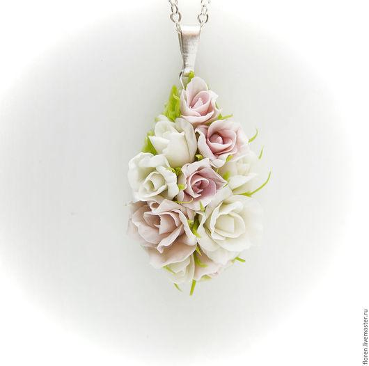 """Кулоны, подвески ручной работы. Ярмарка Мастеров - ручная работа. Купить Кулон """"Аромат роз"""". Handmade. Бледно-розовый, для невесты"""
