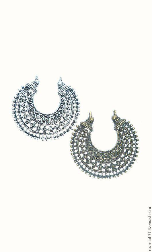 Коннектор- подвеска `Индия` ажурная в винтажном стиле,очень крупная размер 52х28 мм, цвет ант.серебро и ант. бронза