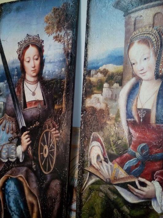 Репродукции ручной работы. Ярмарка Мастеров - ручная работа. Купить Панно очень крупное парное деревянное Святые Екатерина и Варвара. Handmade.