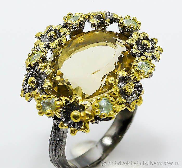 Ring 'Towards the sun' with citrine and Topaz, Rings, Novaya Usman,  Фото №1