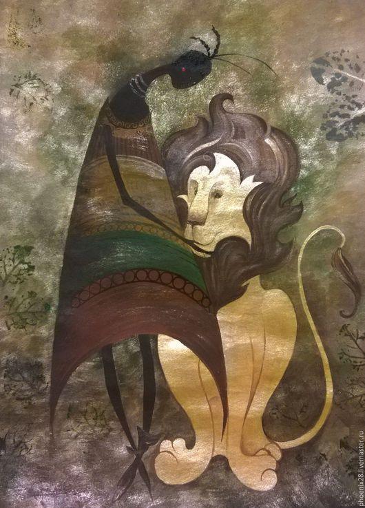 """Этно ручной работы. Ярмарка Мастеров - ручная работа. Купить """"Дружба. Золотой лев"""", картина акрилом. Handmade. Купить картину"""