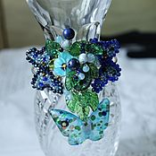 Украшения handmade. Livemaster - original item Bracelet lampwork with aventurine, moonstone, crystal butterfly Dance. Handmade.