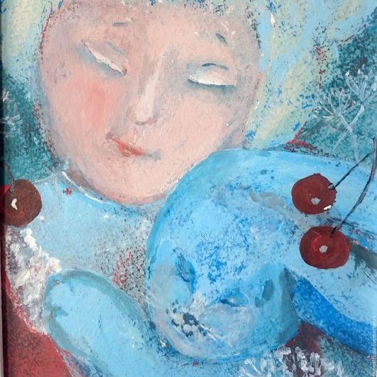 Фантазийные сюжеты ручной работы.Вишневое варенье. Девочка с голубыми волосами и синий кролик. Сказочная картина для детской. Сказка в теплоте рук Коневой Алёны.