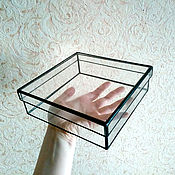 Для дома и интерьера ручной работы. Ярмарка Мастеров - ручная работа Стеклянная шкатулка с крышкой 19х19х5,5 (на заказ - любой размер). Handmade.