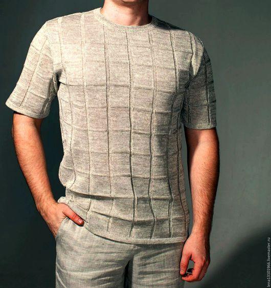 """Для мужчин, ручной работы. Ярмарка Мастеров - ручная работа. Купить 100% лён.Мужской джемпер """"КЛЕТКА"""". Handmade. Одежда"""