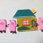 Куклы и игрушки ручной работы. Ярмарка Мастеров - ручная работа Сказка три поросенка. Пальчиковая.. Handmade.