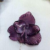 Украшения handmade. Livemaster - original item Brooch pin Orchid amethyst color . Glass lampwork. Handmade.