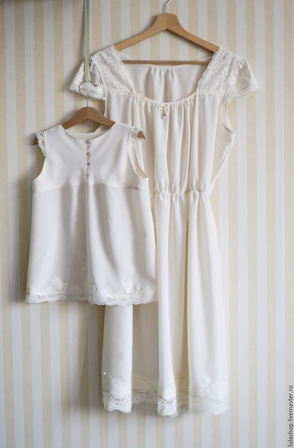 Nightgowns silk for mom and daughter, Combination, Moscow,  Фото №1