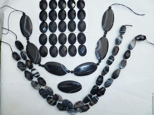 Черные агаты , разноразмерные, 25Х18(500р за 4 шт) граненые. большие по 500р шт, бусины объемные  агат ботсвана 500р 2 шт.