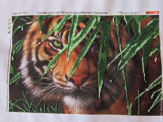 Животные ручной работы. Ярмарка Мастеров - ручная работа. Купить Взгляд тигра. Handmade. Болотный, бисер, картина, картина в подарок