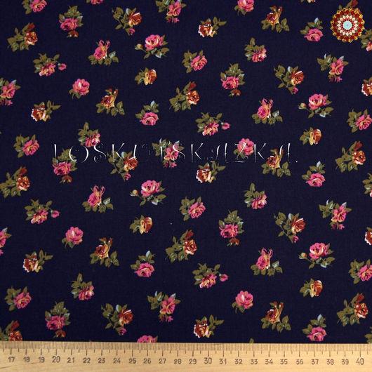 Качественная ткань для пэчворка `Бабушкина роза тёмно-синий`. 100% хлопок. Код товара: ZT-00045