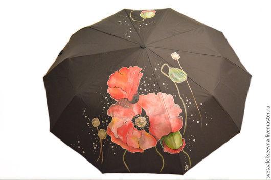 """Зонты ручной работы. Ярмарка Мастеров - ручная работа. Купить Зонт с ручной росписью """"Маки"""". Handmade. Черный, зонт с рисунокм"""
