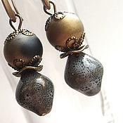 Украшения handmade. Livemaster - original item Earrings ceramic grey. Handmade.