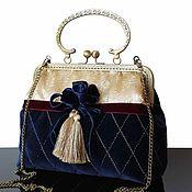 Сумки и аксессуары handmade. Livemaster - original item Vintage style handbag made of velvet, blue bag, gold, brooch. Handmade.