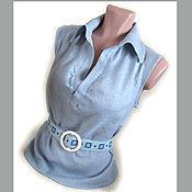 """Одежда ручной работы. Ярмарка Мастеров - ручная работа Блузка + ремень """"Геометрия"""" - натуральный лён, ручная вышивка. Handmade."""