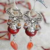 Украшения handmade. Livemaster - original item BOHO-style earrings with red jasper and agate