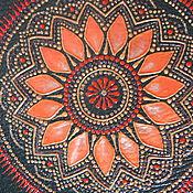 Канцелярские товары handmade. Livemaster - original item Passport cover genuine leather dark green orange painting. Handmade.