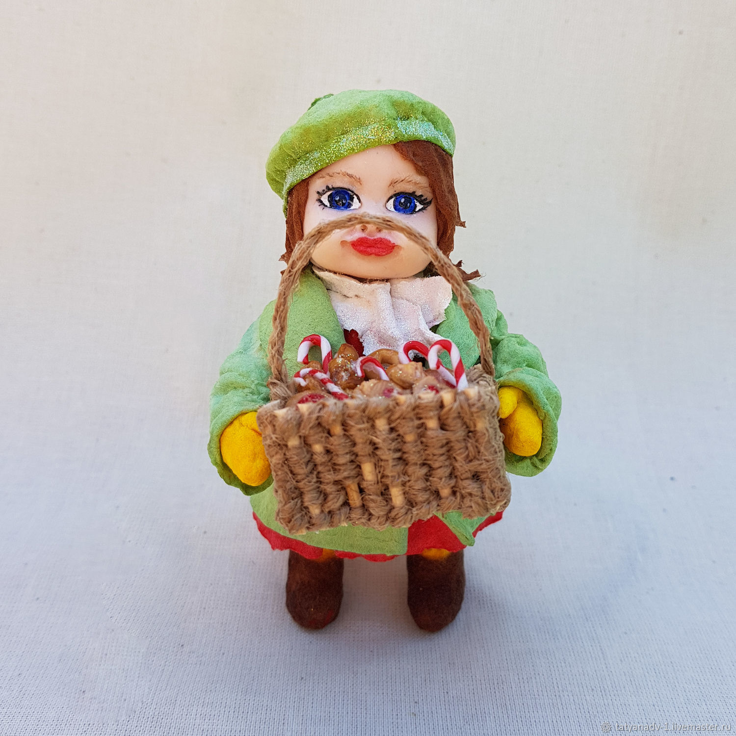 Christmas toy made of cotton wool girl with sweets, Christmas decorations, Domodedovo,  Фото №1