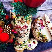 Для дома и интерьера handmade. Livemaster - original item Christmas Boot Vase. Handmade.