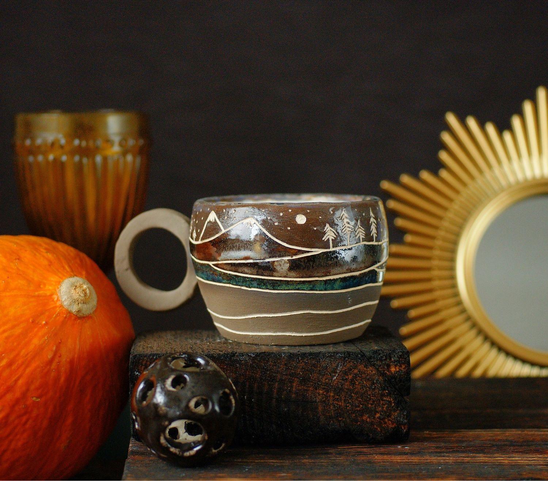 Керамическая кофейная чашка с рисунком природы, ручная работа, 300 мл, Кружки и чашки, Санкт-Петербург,  Фото №1