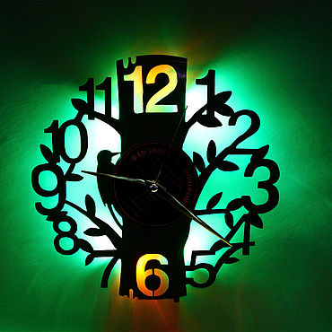 For home and interior handmade. Livemaster - original item Wall clock with led light from woodpecker plate. Handmade.