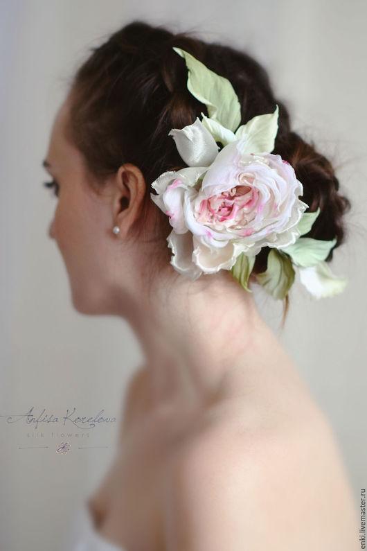 Свадебные украшения ручной работы. Ярмарка Мастеров - ручная работа. Купить Цветы для свадебной прически.Роза из шелка.. Handmade. Коралловый