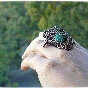 """Украшения ручной работы. Ярмарка Мастеров - ручная работа Кольцо медное """"Конго"""" малахит самородок натуральный камень. Handmade."""