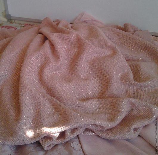 Шитье ручной работы. Ярмарка Мастеров - ручная работа. Купить Вязаное полотно розовое с люрексом. Handmade. Бледно-розовый, вязка