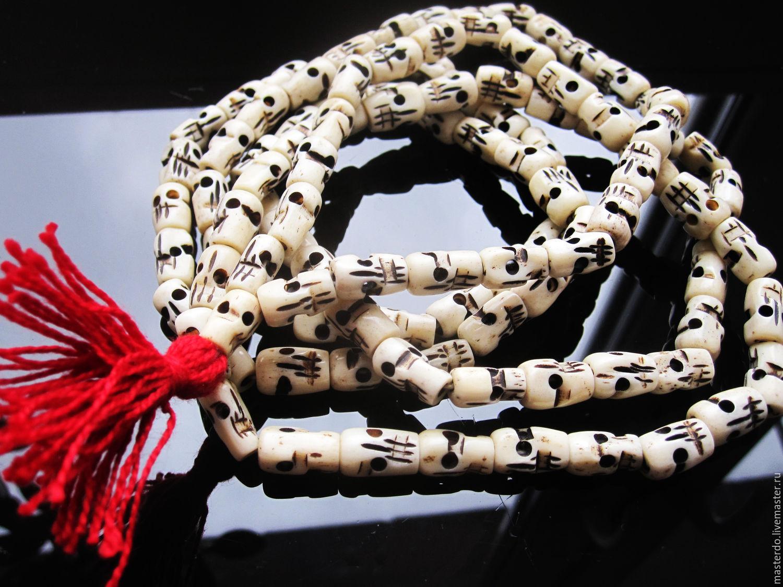 ЧЕТКИ Тибет кость резная, Бусины, Королев,  Фото №1