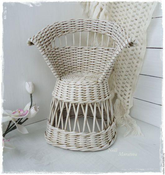 Кукольный дом ручной работы. Ярмарка Мастеров - ручная работа. Купить Кукольное плетеное креслице. Handmade. Бежевый, кукольный дом