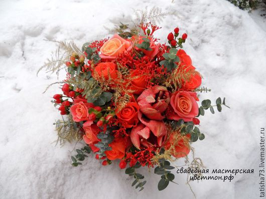 Свадебные цветы ручной работы. Ярмарка Мастеров - ручная работа. Купить Огненный букет невесты. Handmade. Ярко-красный