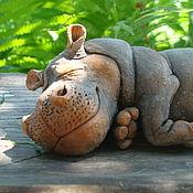 Статуэтки ручной работы. Ярмарка Мастеров - ручная работа Бегемотик спит. Handmade.