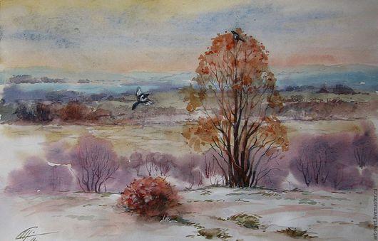 Пейзаж ручной работы. Ярмарка Мастеров - ручная работа. Купить Ранняя зима. Handmade. Брусничный, пейзаж акварелью, просторы