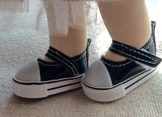Куклы и игрушки ручной работы. Ярмарка Мастеров - ручная работа. Купить Туфли  для кукол 5см  на липах. Handmade. Комбинированный, кеды