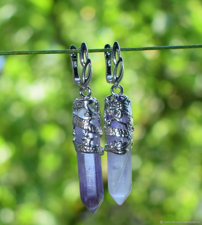 Earrings natural stone lavender amethyst, Earrings, Moscow,  Фото №1