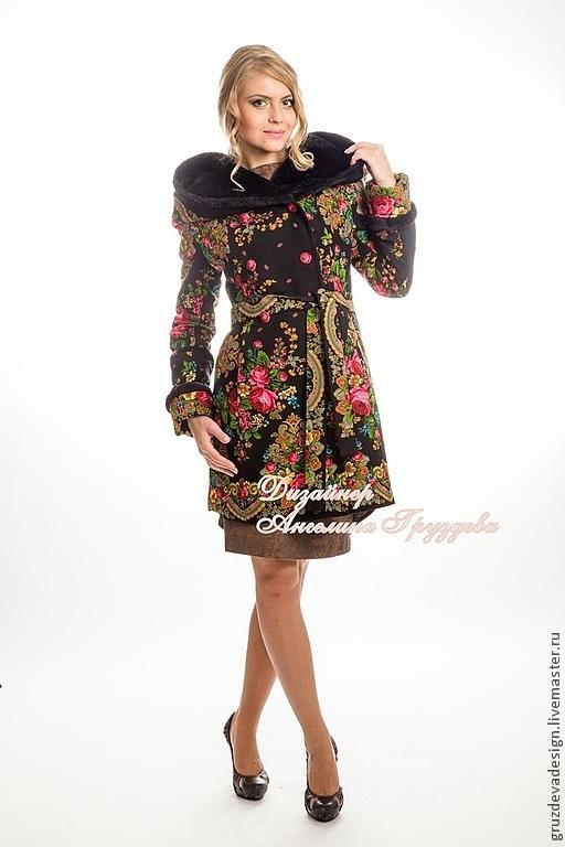 """Верхняя одежда ручной работы. Ярмарка Мастеров - ручная работа. Купить Пальто демисезонное """"Русские Сказки"""". Handmade. Цветочный, розы"""