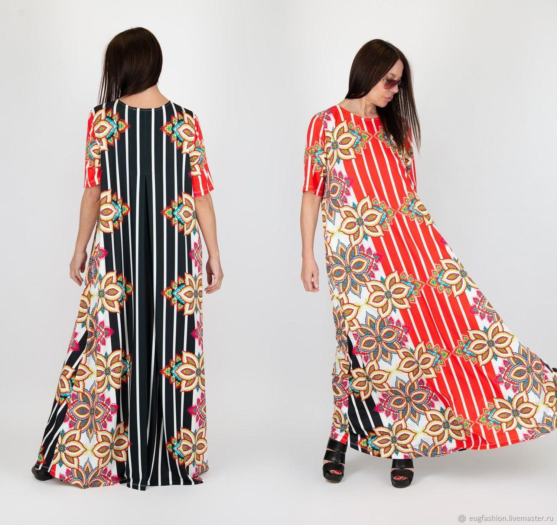 Long, Loose, Summer Print Dress-DR0667JE, Dresses, Sofia,  Фото №1